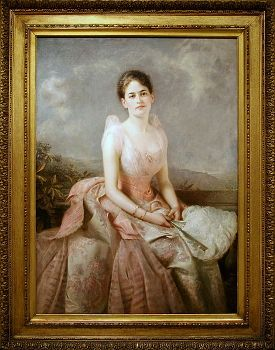 Featured is a photo of a portrait of Juliette Gordon Low - founder of the Girl Scouts - as a young woman by the English painter Edward Hughes.